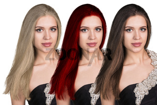 Young woman with long hair in different color