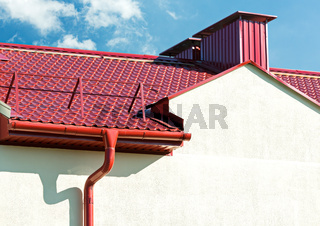 new red tiled roof with gutter