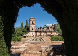 View of Parador and gardens in Alhambra