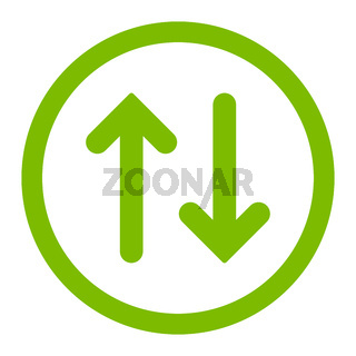 Flip flat eco green color rounded vector icon