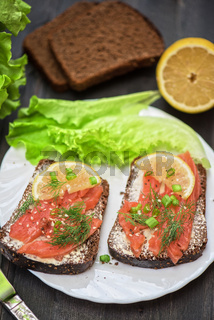 Sandwich with salmon for breakfast