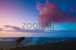 Volcano erupting at early sunrise at Hawaii Volcanoes National Park