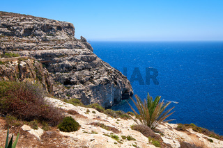 Coast of Mediterranean sea on south part of Malta island