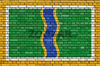 flag of Andorra la Vella painted on brick wall