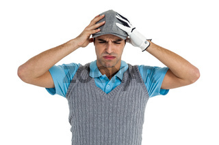 Frustrated golf player standing on white background