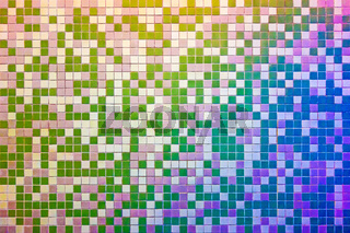 Mosaic tile wall, multicolored