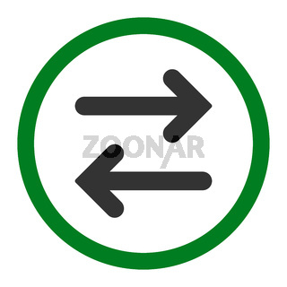 Flip Horizontal flat green and gray colors rounded vector icon