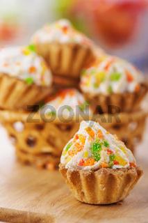 Few cakes in wicker basket