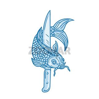 Koi Nishikigoi Carp Fish Knife Drawing