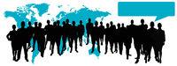 Business Team Gruppe mit Sprechblase