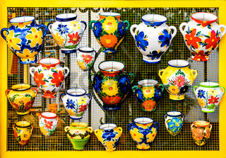 Colorful ceramic pots in Mijas, Andalusian town on the Costa del Sol. Spain