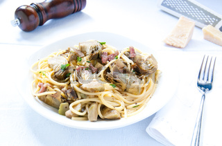 Italian Pasta with artichokes and Parmesan