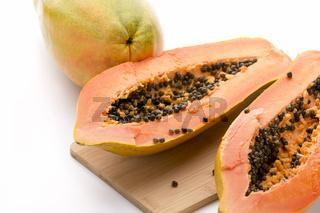 Papaya Halved With A Longitudinal Cut