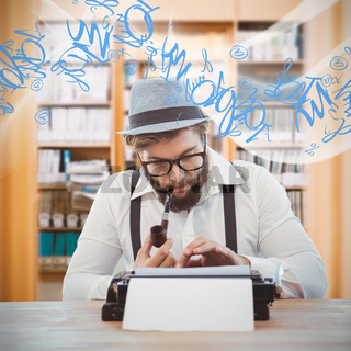 Composite image of hipster smoking pipe while working at desk