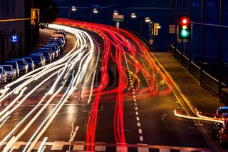 austria, linz. lights of moving cars