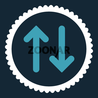 Flip flat blue and white colors round stamp icon