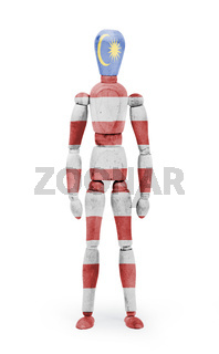 Wood figure mannequin with flag bodypaint - Malaysia