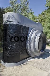 Enormous camera in a park