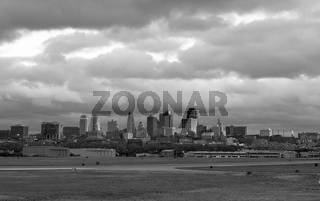 Stormy Black and White Horizontal Composition Kansas City Downtown Slyline