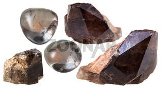 morion (smoky quartz) crystals and gem stones