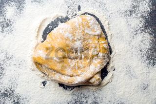 piece of kneaded raw dough