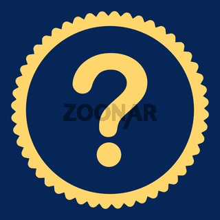Question flat yellow color round stamp icon