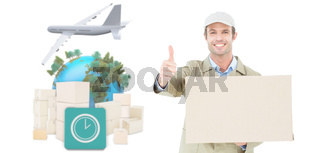 Composite image of happy delivery man gesturing thumbs up while carrying cardboard box