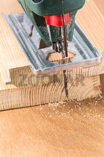 Wood cutting with electric fret-saw