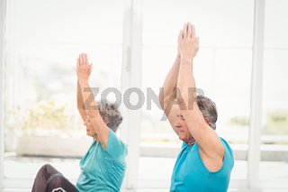Senior couple doing yoga