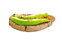 Sandwich with avocado and spices