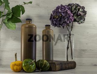 stil life  with stone bottles