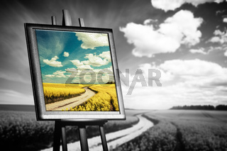 Landscape picture painted on canvas against black and white field