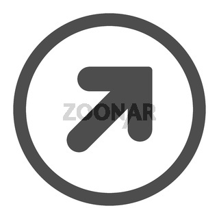 Arrow Up Right flat gray color rounded vector icon