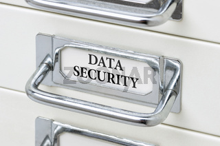 A drawer cabinet with the label Data Security
