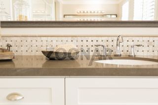 New Modern Bathroom Sink, Faucet, Subway Tiles and Counter