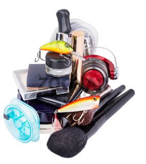 surprise woman beauty cosmetic tools and fishing tackles