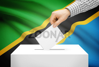 Voting concept - Ballot box with national flag on background - Tanzania