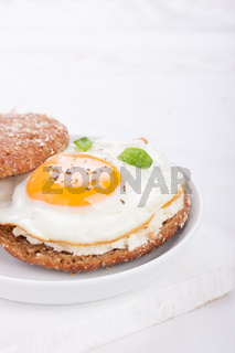 Bun with egg, cottage cheese and fresh basil