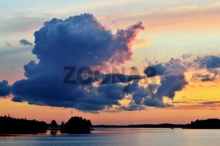 Romantic twilight on lake Pongoma. Karelia, Russia