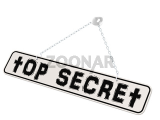 Top secret banner on white background