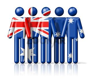 Flag of Australia on stick figure