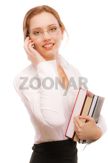 Charming girl-student speaks by phone