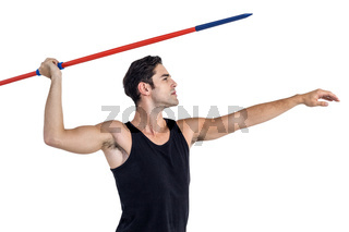 Male athlete preparing to throw javelin