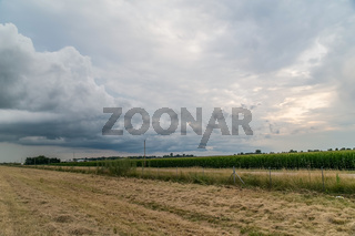 Rural view in Midwest with clouds and sunset