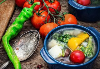 summer soup with fresh vegetables