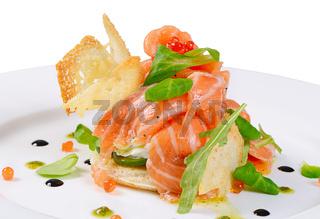 The salmon with cream cheese closeup