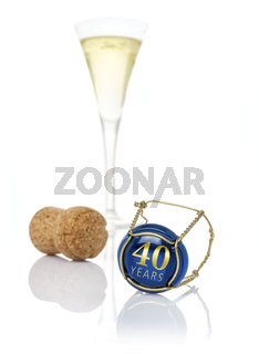 Champagne cap with the inscription 40 years
