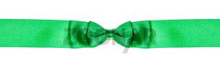 double bow knot on narrow green satin ribbon
