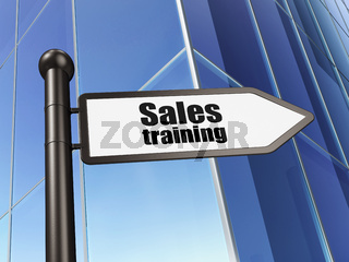 Advertising concept: sign Sales Training on Building background