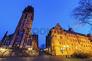 City Hall and St. Salvador Church in Duisburg